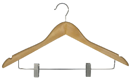 Hooked hanger with skirt clips